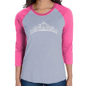 Womens Raglan Baseball Word Art Tee PRINCESS TIARA